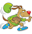 Cartoon Dog Playing Football vector image vector image