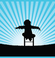 child happy and sweet silhouette in nature vector image vector image