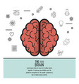 colorful poster the brain top view of its two vector image vector image