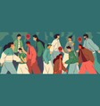 crowd people in city during an epidemic vector image