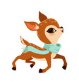 cute little fawn character earing light blue scarf vector image vector image