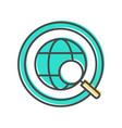 data sorting icon with globe sign vector image