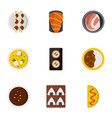 delicious japanese food icons set flat style vector image
