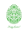 Easter egg with green floral ornament over white vector image