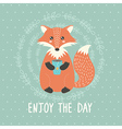 Enjoy the day card with a cute fox vector image vector image