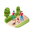 family walking or strolling at park or nature vector image
