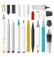 felt-tip pen marker mockup set realistic style vector image