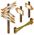 fence wooden signboards arrow sign set vector image vector image