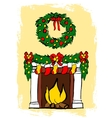 Fireplace with Christmas decoration vector image vector image