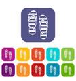 flip flop icons set vector image vector image