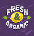 fresh and organic typographic label design with vector image vector image