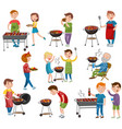 happy people eating and cooking grilled meat vector image vector image