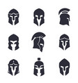 helmets set spartan greek and roman vector image