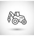 Industrial tractor line icon vector image vector image