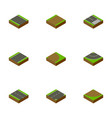 isometric road set of turn rotation down and vector image vector image