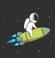 little astronaut flies on rocket in space vector image