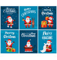 merry christmas santa claus with presents set vector image vector image