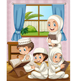 Muslim family praying in the house vector image vector image