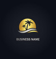 palm tree sunset beach gold logo vector image vector image