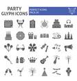 party glyph icon set celebration symbols vector image vector image