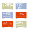 promo code card discount on the banner vector image vector image
