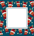 reindeer santa with red scarf on indigo blue vector image vector image