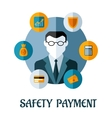 Safety Payment flat concept vector image vector image