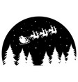 santa claus flying in a sleigh drawn deer over vector image vector image