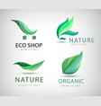 set eco logos leaves organic vector image vector image