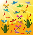 set mexican pictures on background of vector image vector image