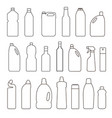 set of outline bottles cans vector image vector image