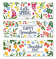 spring floral banner with flower and berry frame vector image vector image