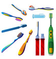 toothbrush icon set cartoon style vector image vector image