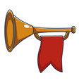 trumpet with red banner royal instrument vector image