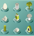 vegeterian color isometric icons vector image vector image