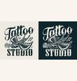 vintage tattoo studio logotype vector image vector image