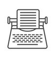 vintage typewriter linear icon vector image vector image