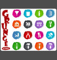 work tools icons set in grunge style vector image vector image