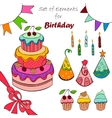 Set of elements for birthday vector image