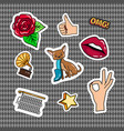 retro quirky style stickers set vector image