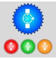 Wrist Watch sign icon Mechanical clock symbol Set vector image