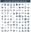 100 outdoor icons vector image vector image
