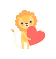 adorable lion standing with red heart funny vector image vector image