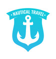badge shaped shield with anchor of ship vector image vector image