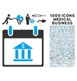 Bank Building Calendar Day Icon With 1000 Medical vector image vector image