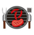 barbecue grill meat sausages and fork spatula vector image vector image