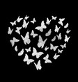 beautifil butterfly sitver heart silhouette vector image