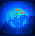 blue radar bitcoin digital currency futuristic vector image vector image