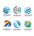 circle technology and network logo set vector image