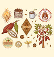 cocoa beans and hot chocolate logos modern vector image vector image